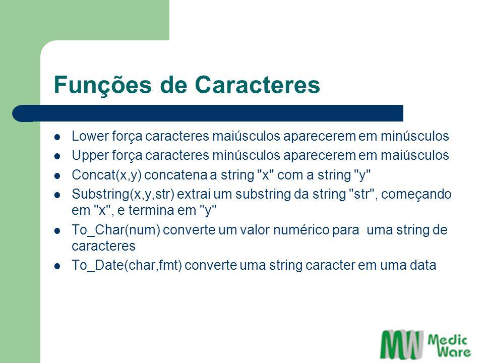 Funções de Caracteres Lower força caracteres maiúsculos aparecerem em minúsculos. Upper força caracteres minúsculos aparecerem em maiúsculos.