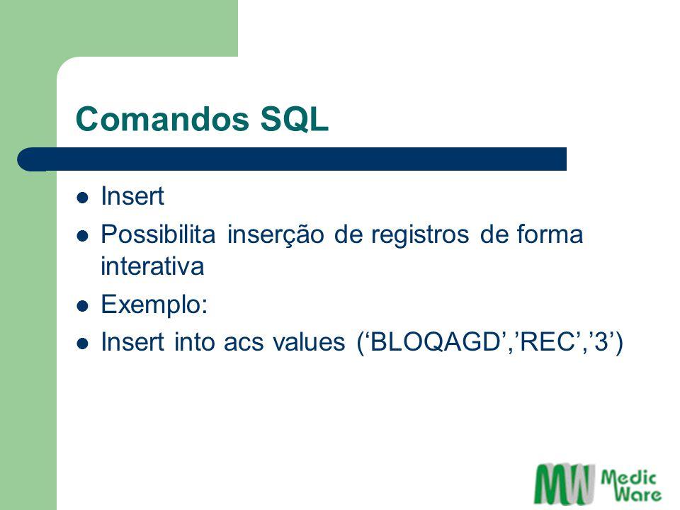 Comandos SQL Insert. Possibilita inserção de registros de forma interativa.
