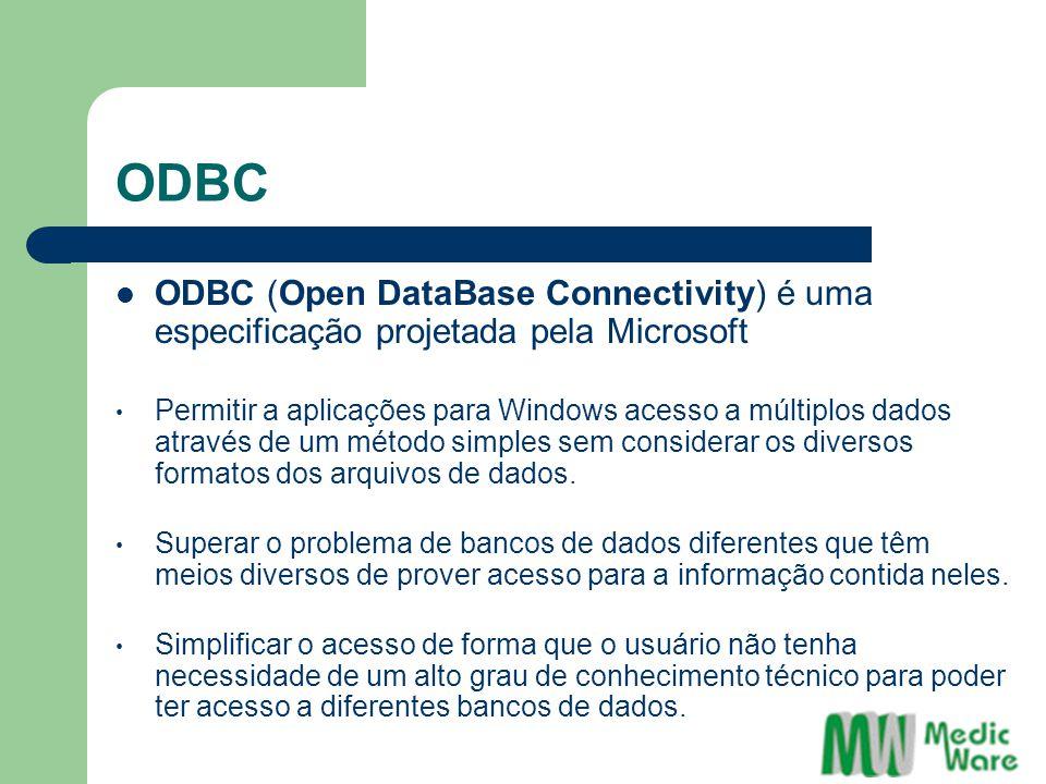 ODBC ODBC (Open DataBase Connectivity) é uma especificação projetada pela Microsoft.