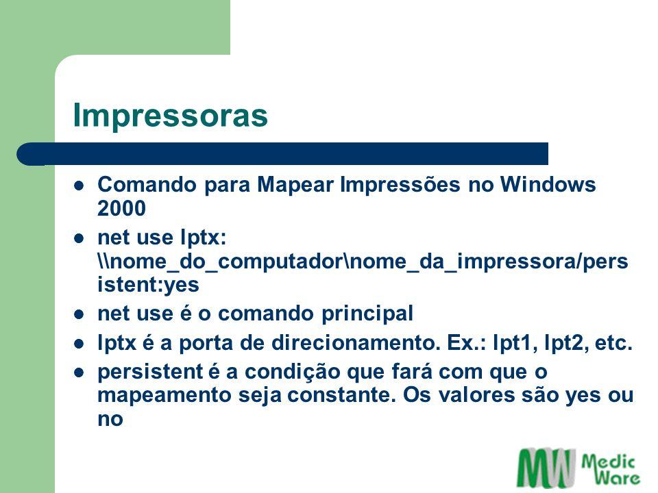 Impressoras Comando para Mapear Impressões no Windows 2000
