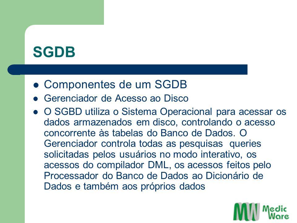 SGDB Componentes de um SGDB Gerenciador de Acesso ao Disco