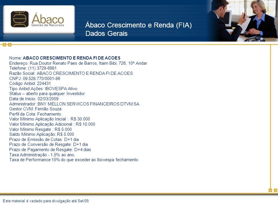 Ábaco Crescimento e Renda (FIA) Dados Gerais