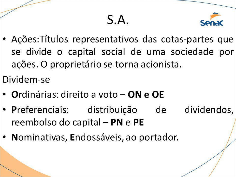 S.A. Ações:Títulos representativos das cotas-partes que se divide o capital social de uma sociedade por ações. O proprietário se torna acionista.