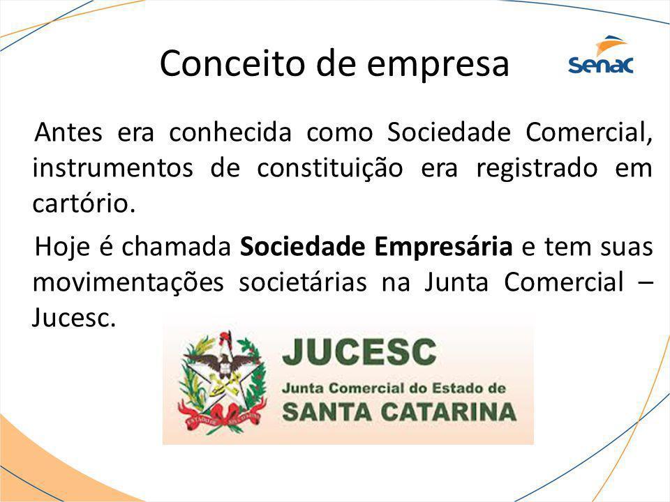 Conceito de empresa Antes era conhecida como Sociedade Comercial, instrumentos de constituição era registrado em cartório.
