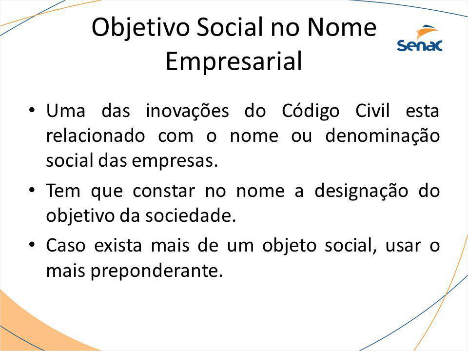 Objetivo Social no Nome Empresarial