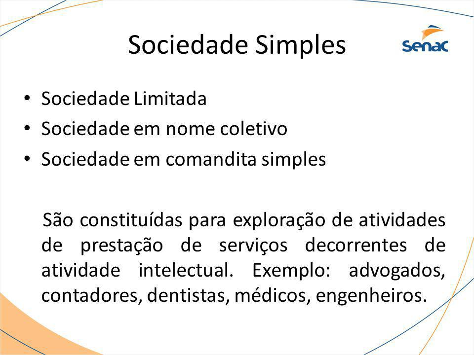 Sociedade Simples Sociedade Limitada Sociedade em nome coletivo