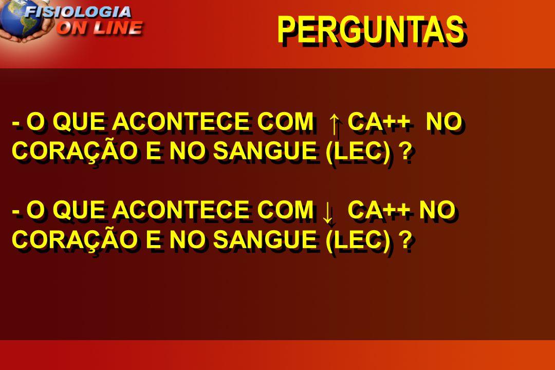 PERGUNTAS - O QUE ACONTECE COM ↑ CA++ NO CORAÇÃO E NO SANGUE (LEC)