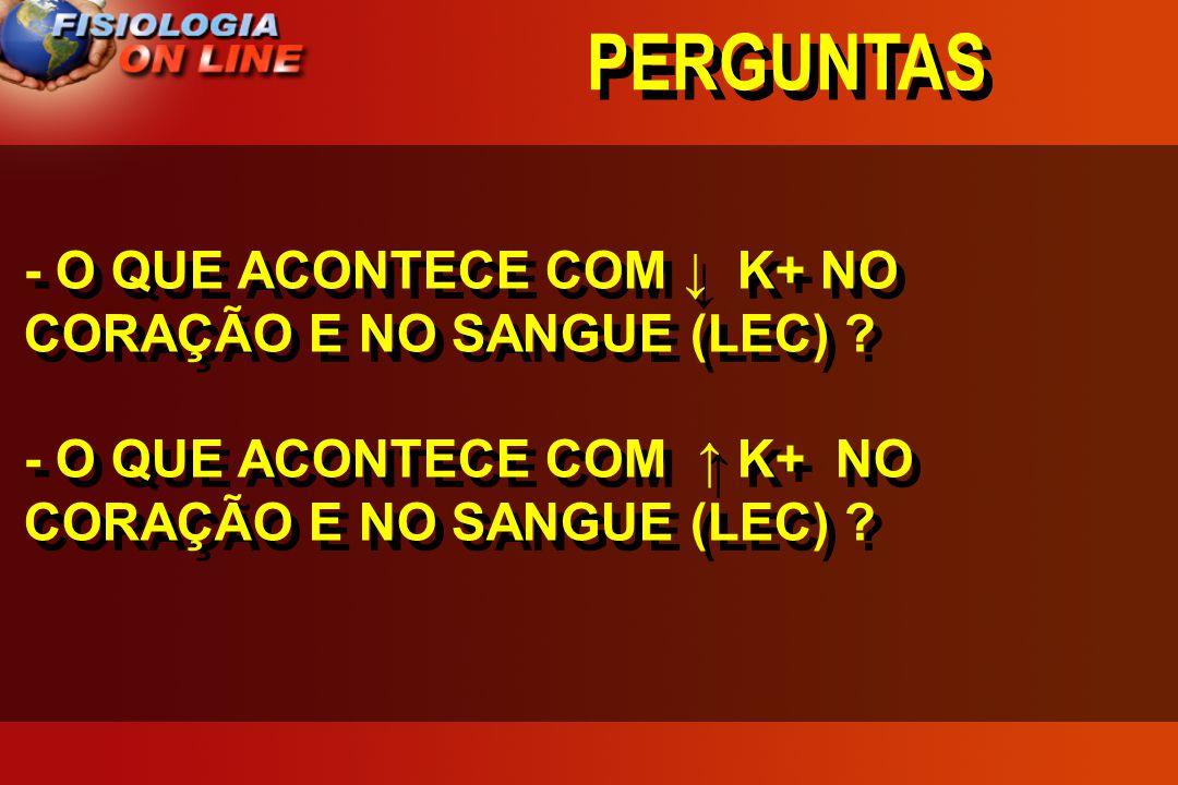 PERGUNTAS - O QUE ACONTECE COM ↓ K+ NO CORAÇÃO E NO SANGUE (LEC)
