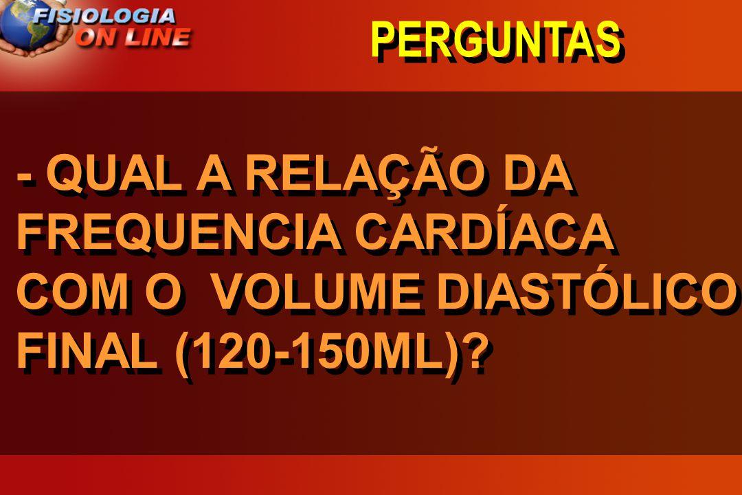PERGUNTAS - QUAL A RELAÇÃO DA FREQUENCIA CARDÍACA COM O VOLUME DIASTÓLICO FINAL (120-150ML)