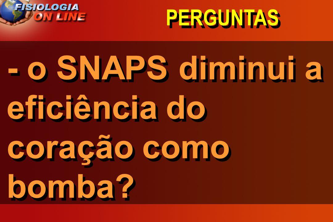 - o SNAPS diminui a eficiência do coração como bomba
