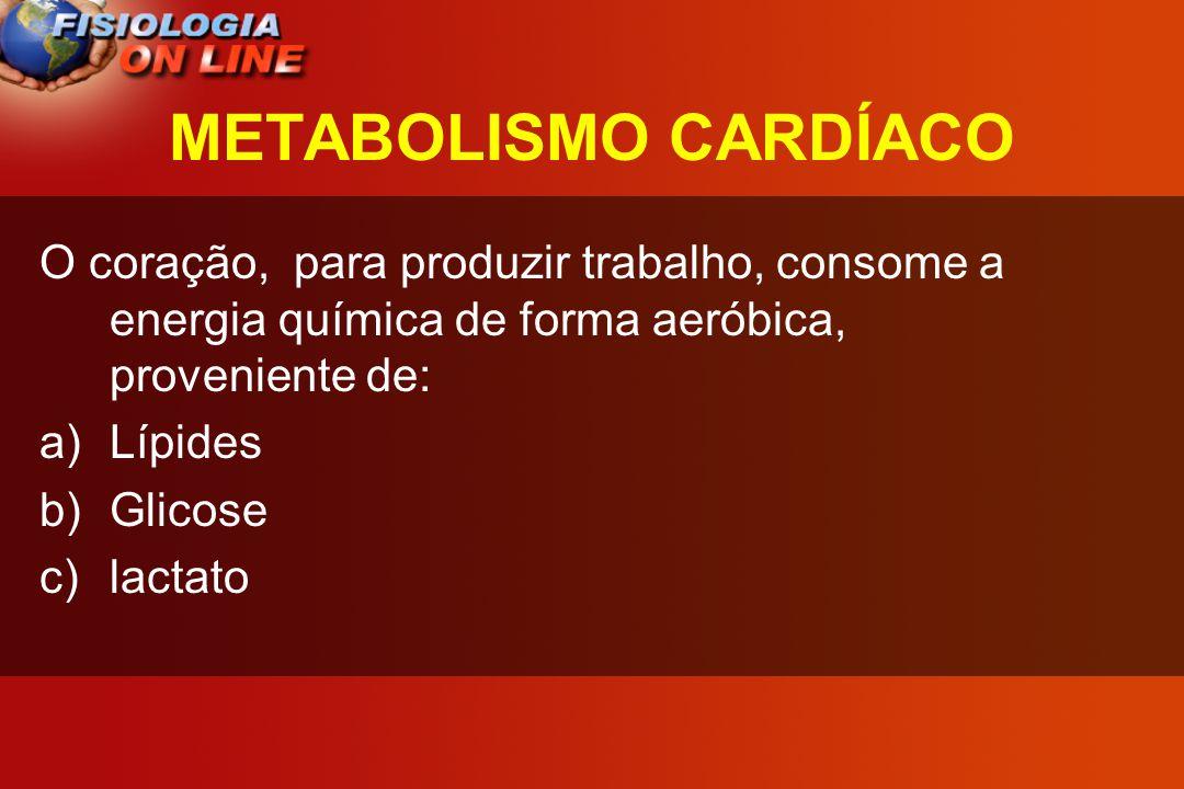 METABOLISMO CARDÍACO O coração, para produzir trabalho, consome a energia química de forma aeróbica, proveniente de: