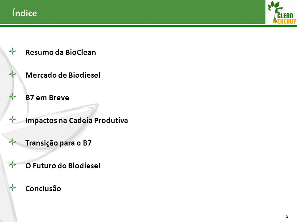Índice Resumo da BioClean Mercado de Biodiesel B7 em Breve