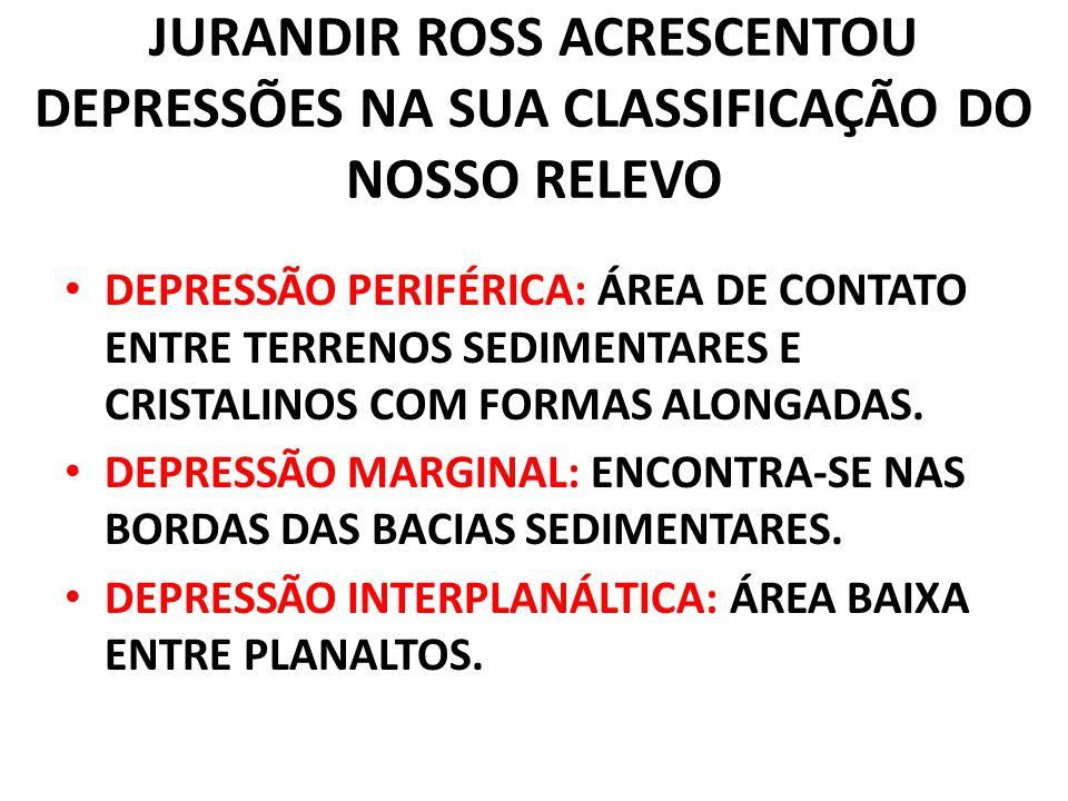 JURANDIR ROSS ACRESCENTOU DEPRESSÕES NA SUA CLASSIFICAÇÃO DO NOSSO RELEVO