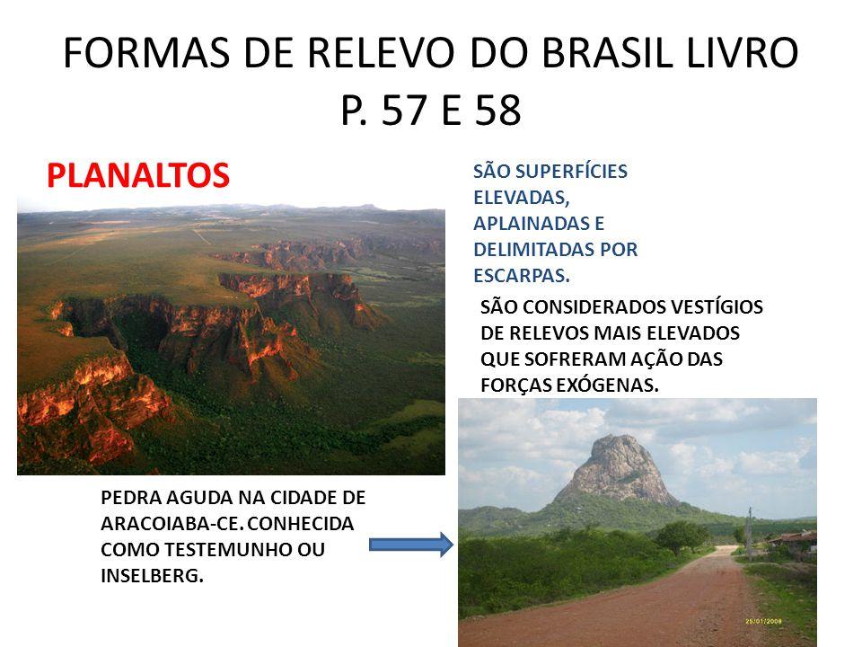 FORMAS DE RELEVO DO BRASIL LIVRO P. 57 E 58