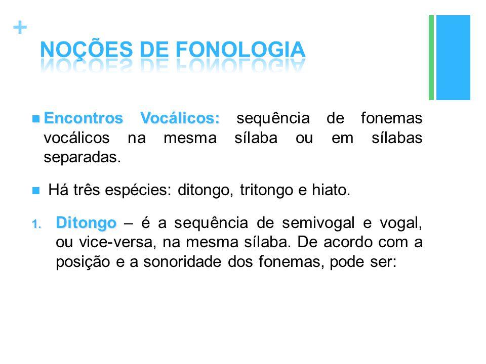 NOÇÕES DE FONOLOGIA Encontros Vocálicos: sequência de fonemas vocálicos na mesma sílaba ou em sílabas separadas.