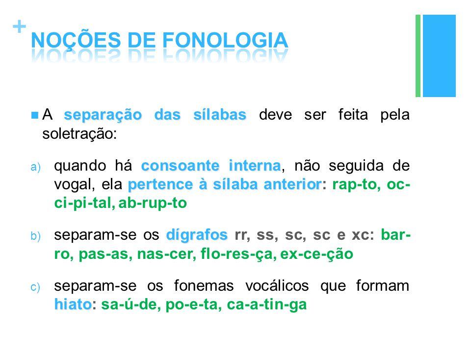 NOÇÕES DE FONOLOGIA A separação das sílabas deve ser feita pela soletração: