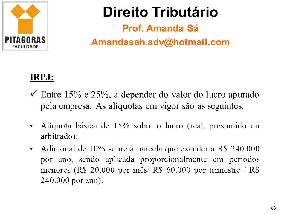 Direito Tributário Prof. Amanda Sá Amandasah.adv@hotmail.com IRPJ: