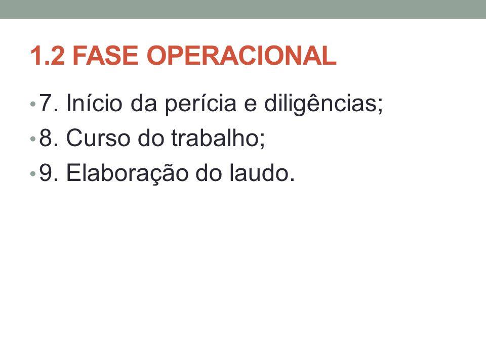 1.2 FASE OPERACIONAL 7. Início da perícia e diligências;