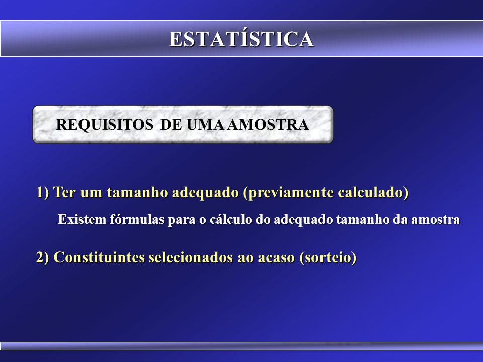 ESTATÍSTICA REQUISITOS DE UMA AMOSTRA