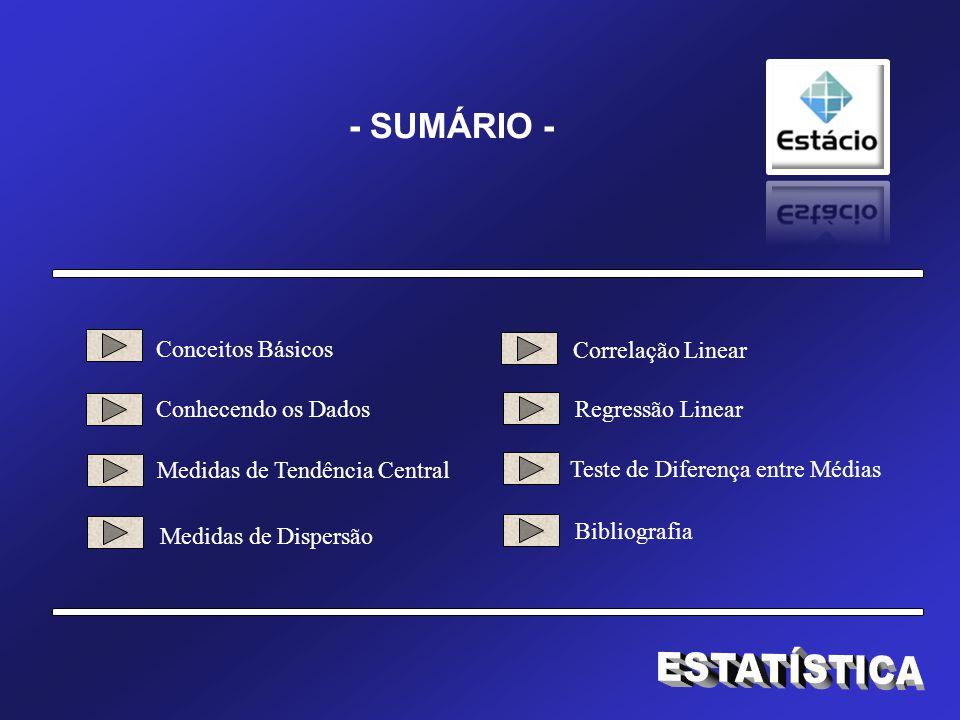 ESTATÍSTICA - SUMÁRIO - Conceitos Básicos Correlação Linear