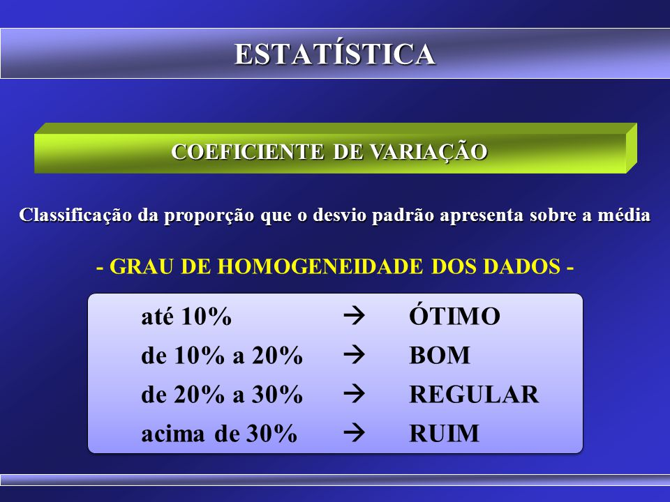 ESTATÍSTICA de 10% a 20%  BOM de 20% a 30%  REGULAR