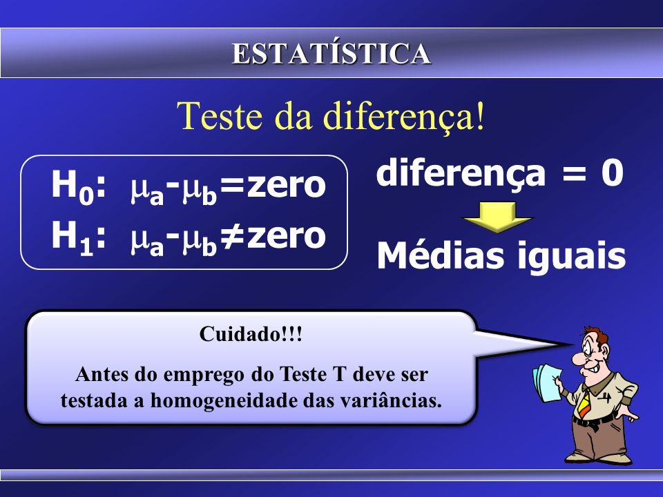 Teste da diferença! diferença = 0 H0: ma-mb=zero H1: ma-mb≠zero