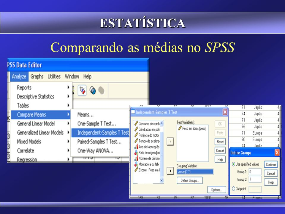 Comparando as médias no SPSS