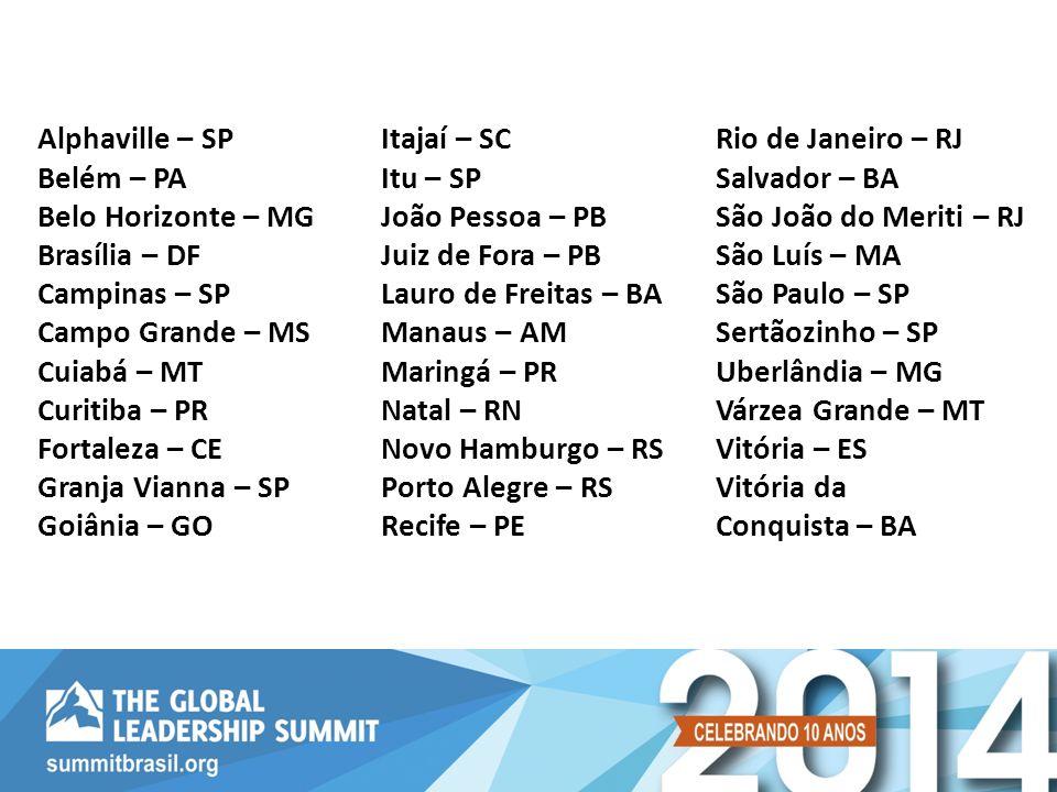 Alphaville – SP Belém – PA. Belo Horizonte – MG. Brasília – DF. Campinas – SP Campo Grande – MS.