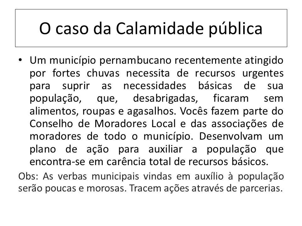 O caso da Calamidade pública