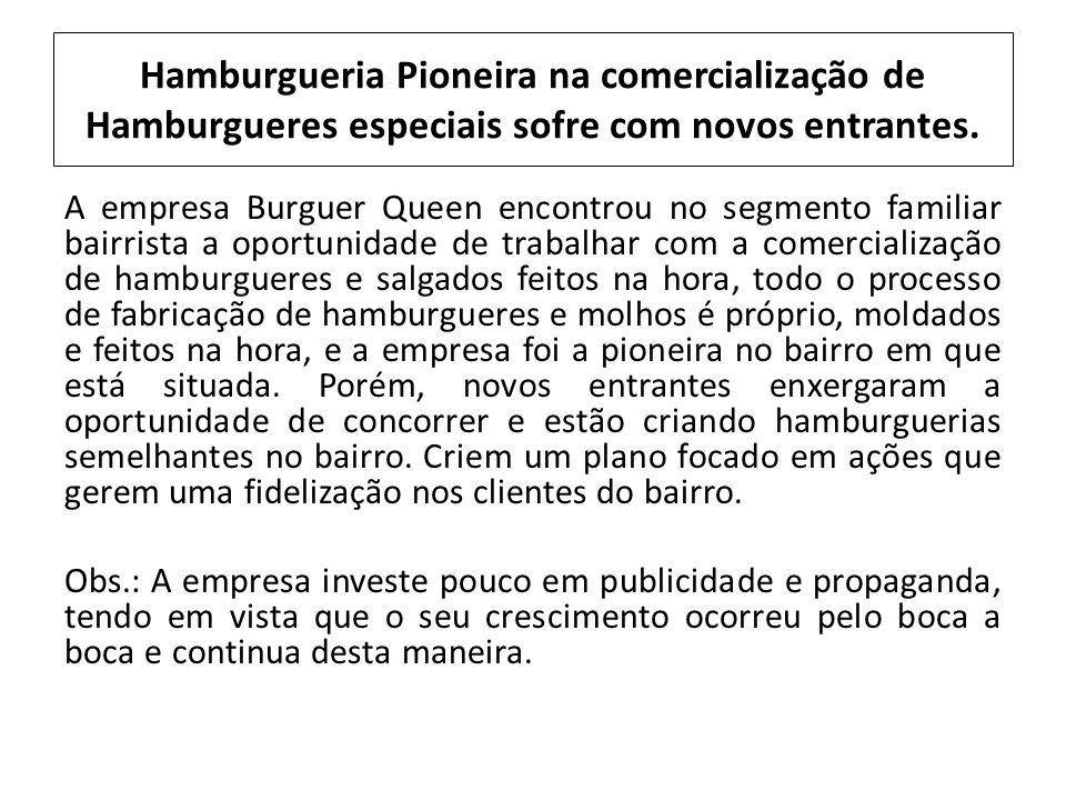 Hamburgueria Pioneira na comercialização de Hamburgueres especiais sofre com novos entrantes.