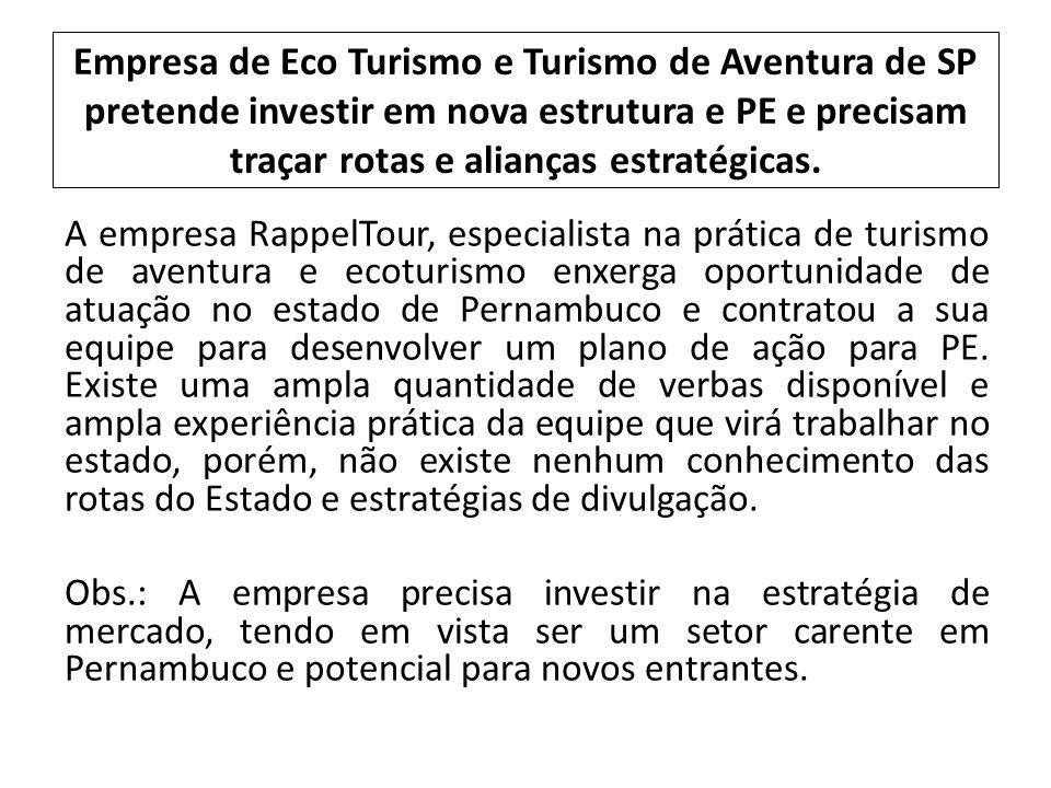 Empresa de Eco Turismo e Turismo de Aventura de SP pretende investir em nova estrutura e PE e precisam traçar rotas e alianças estratégicas.