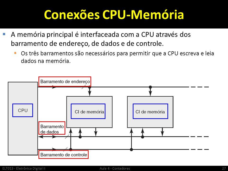 Conexões CPU-Memória A memória principal é interfaceada com a CPU através dos barramento de endereço, de dados e de controle.