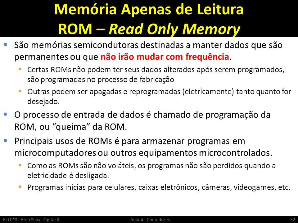 Memória Apenas de Leitura ROM – Read Only Memory
