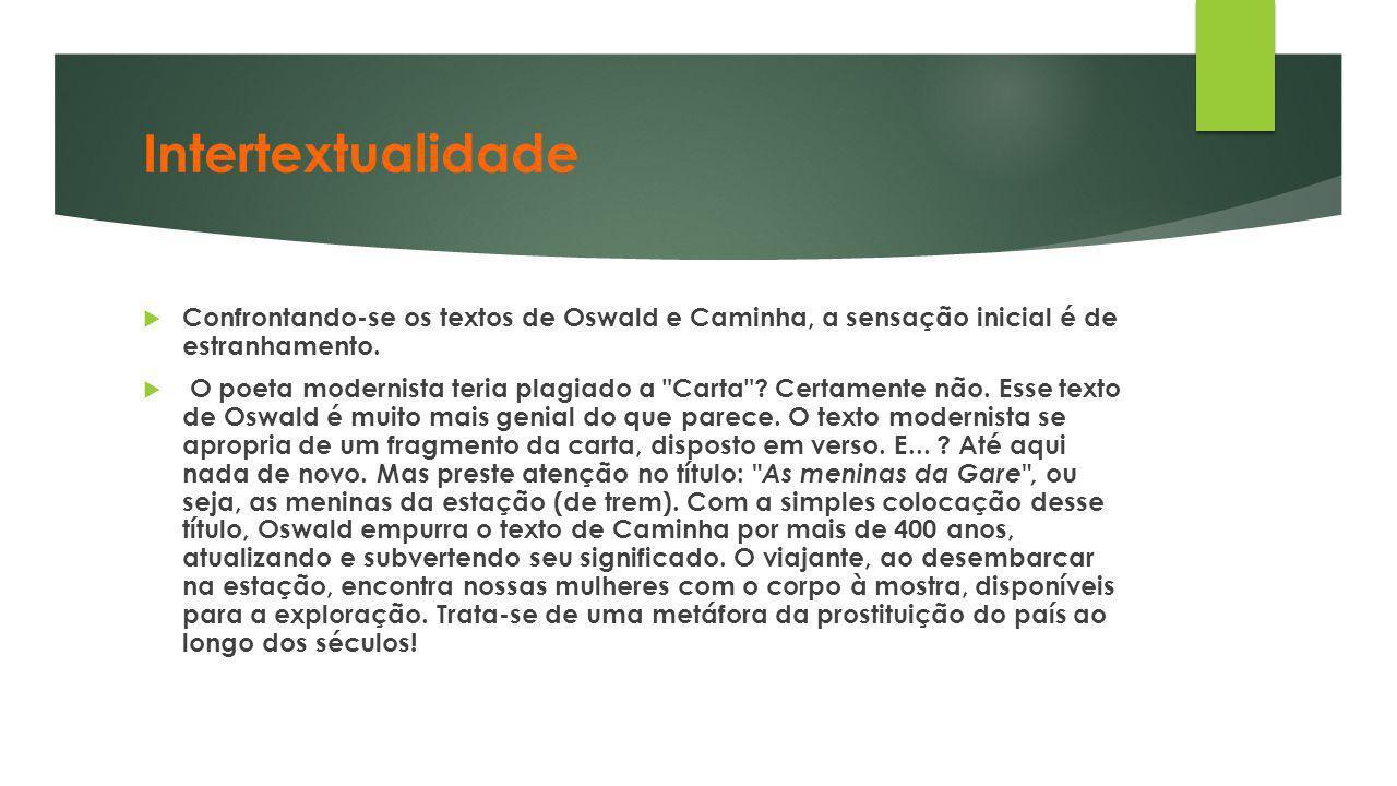 Intertextualidade Confrontando-se os textos de Oswald e Caminha, a sensação inicial é de estranhamento.