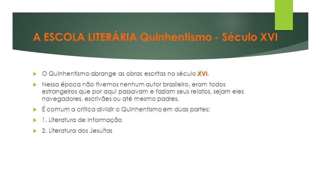 A ESCOLA LITERÁRIA Quinhentismo - Século XVI