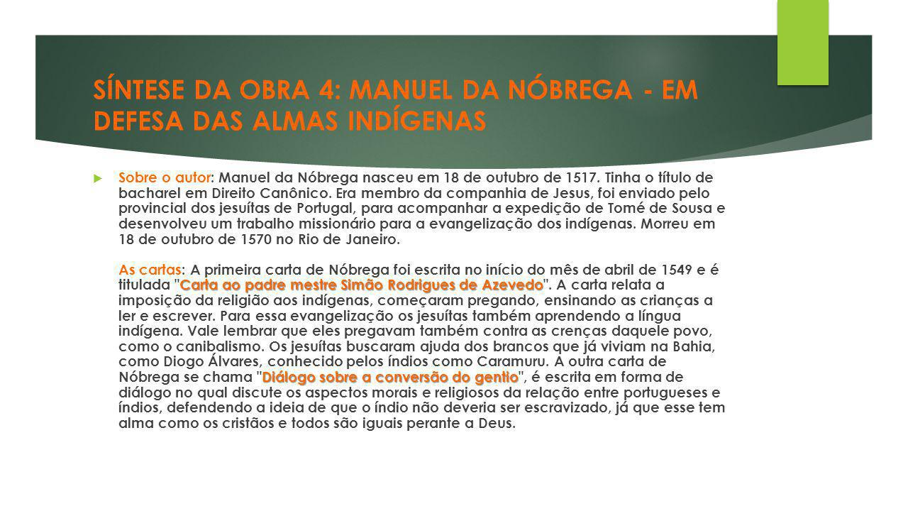 SÍNTESE DA OBRA 4: MANUEL DA NÓBREGA - EM DEFESA DAS ALMAS INDÍGENAS