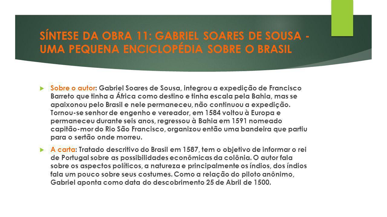 SÍNTESE DA OBRA 11: GABRIEL SOARES DE SOUSA - UMA PEQUENA ENCICLOPÉDIA SOBRE O BRASIL
