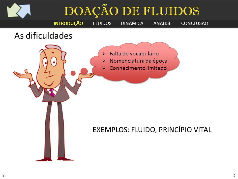 As dificuldades EXEMPLOS: FLUIDO, PRINCÍPIO VITAL Falta de vocabulário