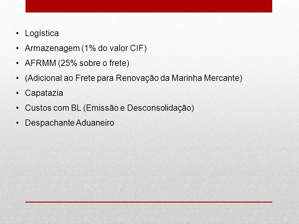 Logística Armazenagem (1% do valor CIF) AFRMM (25% sobre o frete) (Adicional ao Frete para Renovação da Marinha Mercante)