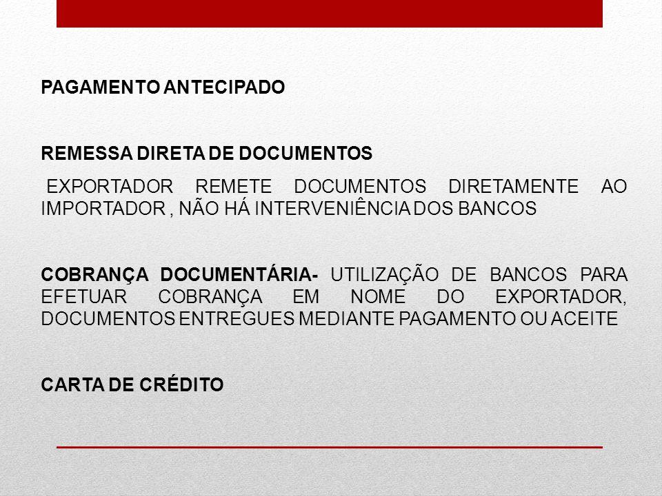 PAGAMENTO ANTECIPADO REMESSA DIRETA DE DOCUMENTOS. EXPORTADOR REMETE DOCUMENTOS DIRETAMENTE AO IMPORTADOR , NÃO HÁ INTERVENIÊNCIA DOS BANCOS.