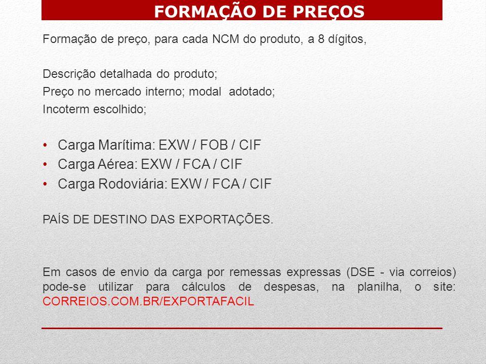 FORMAÇÃO DE PREÇOS Carga Marítima: EXW / FOB / CIF