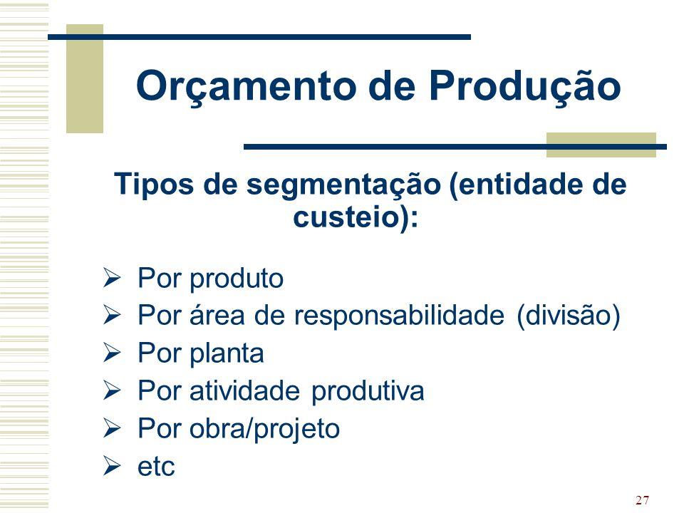 Tipos de segmentação (entidade de custeio):