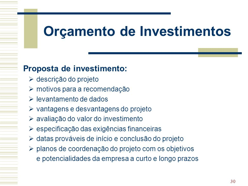 Orçamento de Investimentos