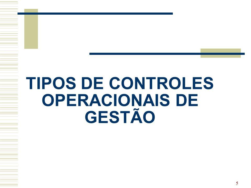 TIPOS DE CONTROLES OPERACIONAIS DE GESTÃO