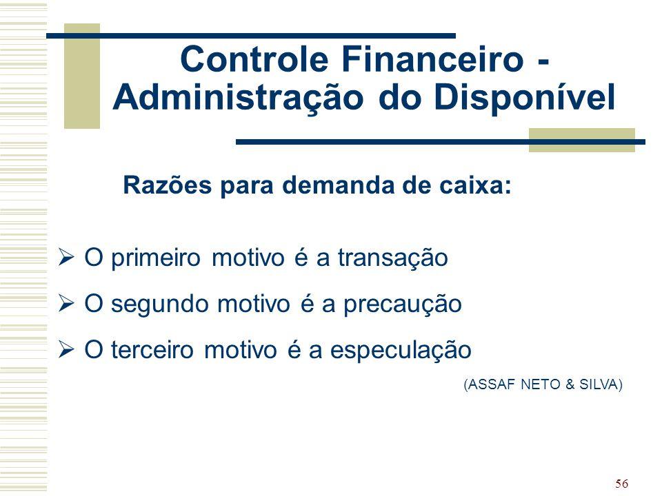 Controle Financeiro - Administração do Disponível