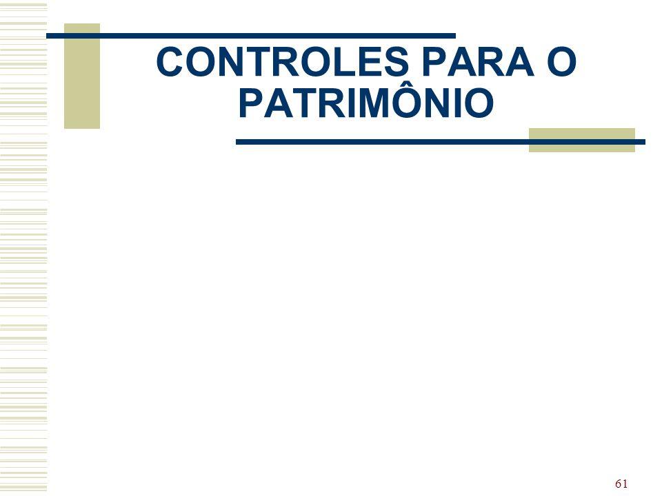 CONTROLES PARA O PATRIMÔNIO