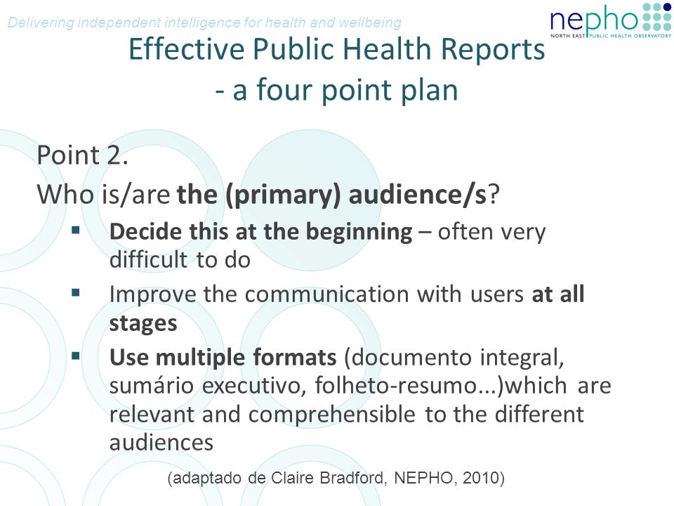 Effective Public Health Reports - a four point plan