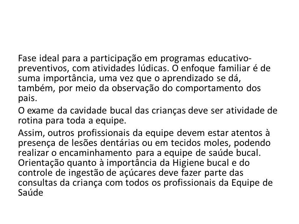 Fase ideal para a participação em programas educativo-preventivos, com atividades lúdicas.