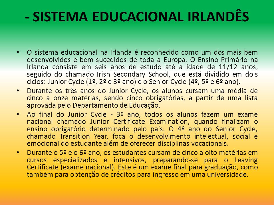 - SISTEMA EDUCACIONAL IRLANDÊS