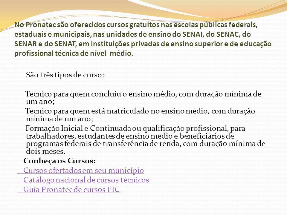 No Pronatec são oferecidos cursos gratuitos nas escolas públicas federais, estaduais e municipais, nas unidades de ensino do SENAI, do SENAC, do SENAR e do SENAT, em instituições privadas de ensino superior e de educação profissional técnica de nível médio.